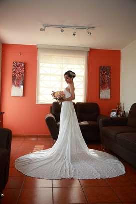 Elegante Vestido De Novia De Diseñadora