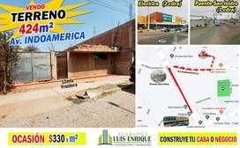 Terreno Av. Indoamerica $125,000 OCASIÓN, terreno a $299 /m2, Área: 424m²