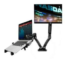Soporte de escritorio para dos monitores o laptop portatil brazos ergonómicos flexigas