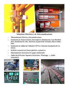 Servicio instalaciónes Eléctricas, telecomunicaciones .