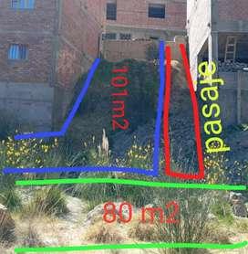 Venta terrenos de 101m2 y 80m2