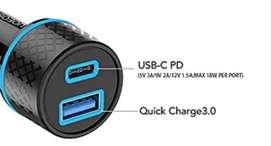 Cargador rápido portátil de auto para iPhone, iPad, MacBook y USB