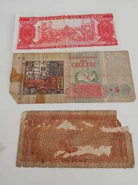 3 billetes antiguos de Uruguay