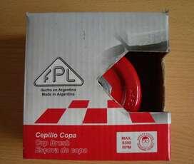 Cepillo copa de acero latonado rizado multirrosca FPL 100mm nuevo