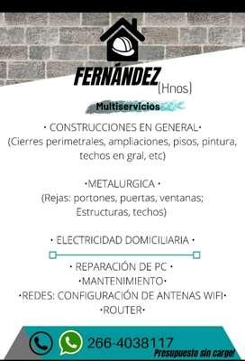 Albañilería, electricidad, metalúrgica.
