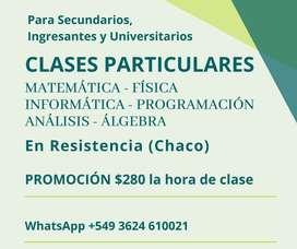 Clases de PROGRAMACION, Análisis Matemático, Álgebra, Matemática, Físca