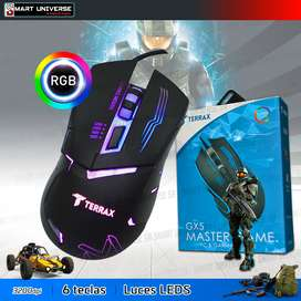 Mouse Gamer Terrax Gx52 Luces Leds Led Usb 6 Teclas Pc
