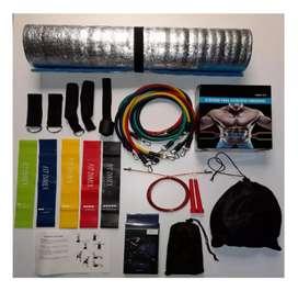 Bandas tubulares 11 piezas + kit 5 bandas elásticas + colchoneta para ejercicio con aislante térmico + lazo de guaya