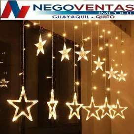 CORTINA CON ESTRELLAS LED DECORATIVA EXTENSION DE 2.5 MTS