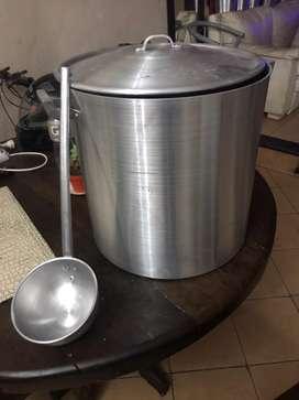 Olla aluminio gastronomico industrial n40 de 50litros 4mm litros mas cucharon grande