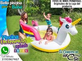 Piscina Infantil Unicornio Splash de INTEX. Con ROCIADOR, Edad desde 20 meses |Piscina Niños NUEVAS