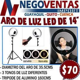 """ARO DE LUZ 14"""" + TRIPO DE 160 CMS 3 TONOS DE LUCES"""