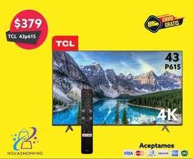 Tv TCL 43p615 4K con Bluetooth y comando de voz