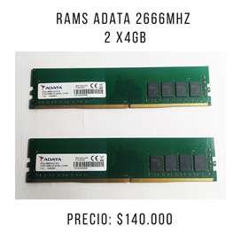 Ram Adata 2X4GB 2666Mhz - Usadas