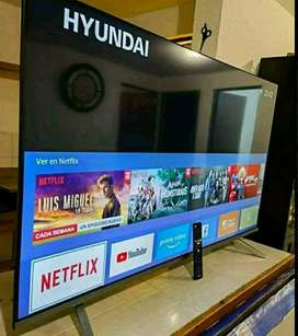 Vendo televisor de 43 pulgadas Hyunday con control y base de mesa caja también tiene