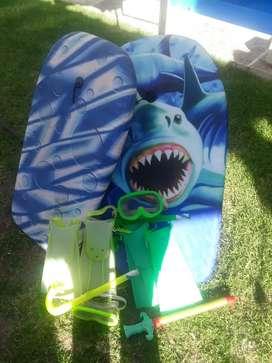 2 tablas + patas de ranas snorkels