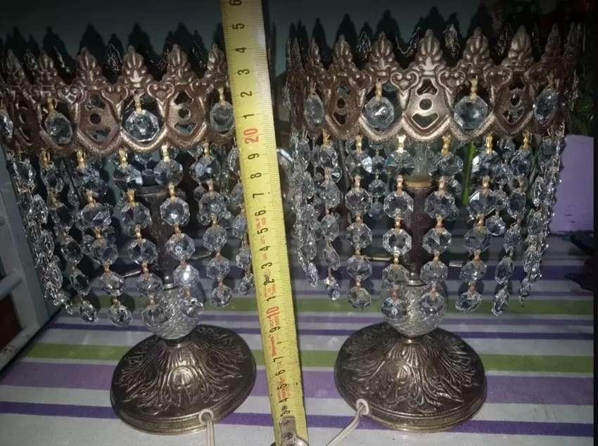 2 veladores estilo imperio cristal de roca y bronce 0