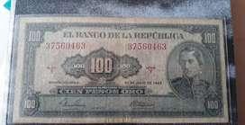 Billete de 100 pesos de 1965