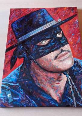 Pintura Original Walt Disney's El Zorro - Guy Williams