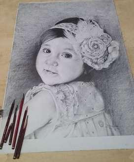 Retratos Al Carboncillo Grafito Y Tiza Pastel