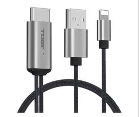SOCLL - Cable HDMI compatible con iPhone, cable adaptador HDMI para iPhone, convertidor AV digital 1080P para iPhone