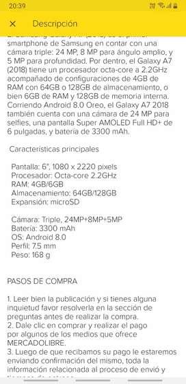 Vendo  o cambio celular samsung A7 en perfecto estado 10 de 10