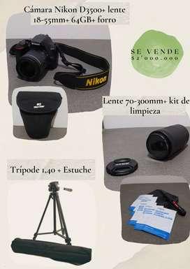 Vendo cámara Nikon D3500+ lente 18-55mm+ lente70-300mm+ 64GB+ Forro+ kit de limpieza+ trípode 1,40 y estuche.