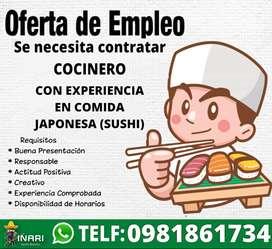 Cocinero experiencia en sushi