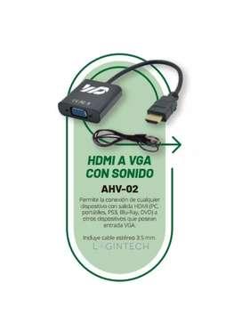 Cable Convertidor Hdmi A Vga + Audio 3.5 Stereo