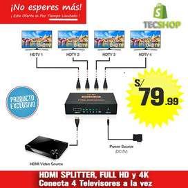 SPLITER HDMI,  FULL HD 1x4  DUPLICADOR DE IMAGEN