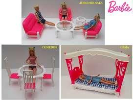 Juego para Barbie en Pasta Cama Comedor Sala
