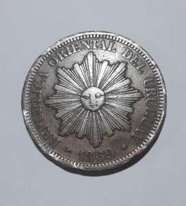 Moneda grande de Uruguay, 4 centésimos de 1869