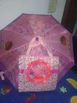 Carterita de Pepa y paraguas para niñas