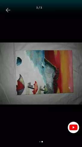 Pintura con acrílicos - atardecer en la playa