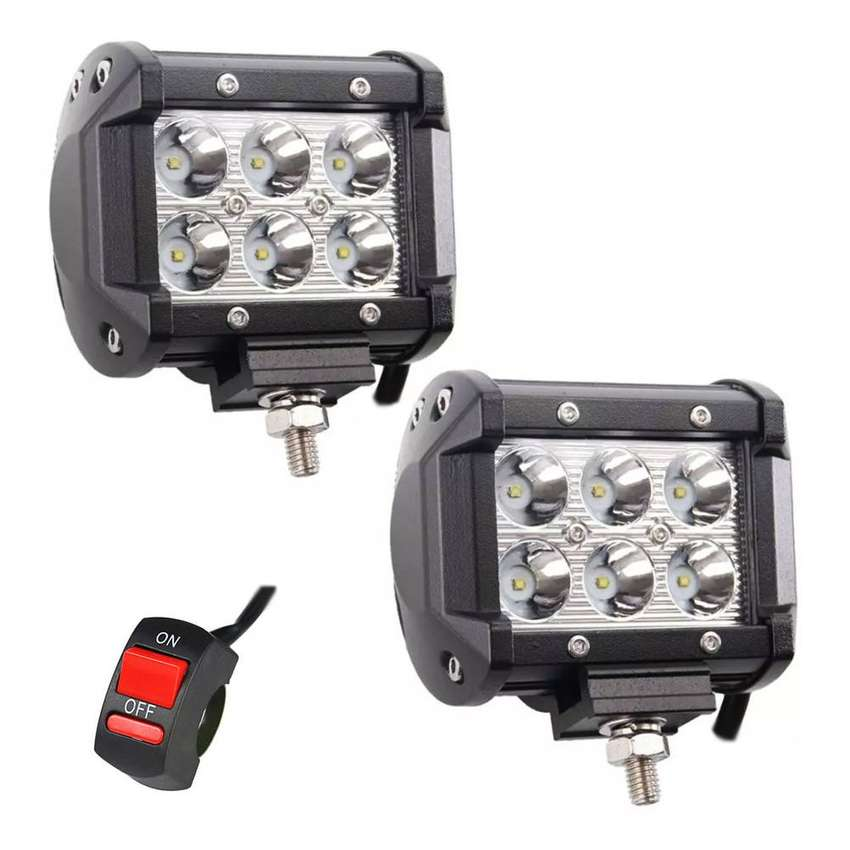 2 Reflectores Led Cree 18w 3000lm Camionetas Motos + Switch 0