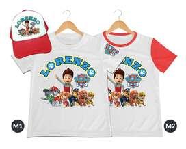 camiseta mas gorra para niños Paw Patrol