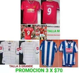 Vendo o cambio camisetas de fútbol originales nacionales e internacionales antiguas de colección