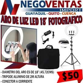 ARO DE LUZ LED 18'IDEAL PARA MAQUILLAJE,FOTOS O VIDEOS