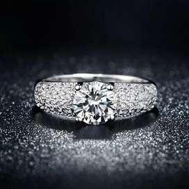 Anillos de Compromiso Oro 18k con Diamantes Aniversario Matrimonio Plata Alianzas Celular