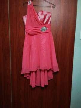 Vestidos gasa de fiesta color uva coral