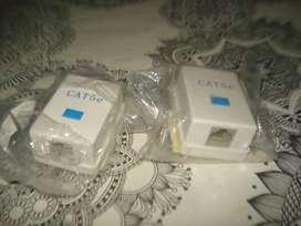 2 unidades nuevas Roseta Rj11 Jack Toma Pared Telefono Con Cable
