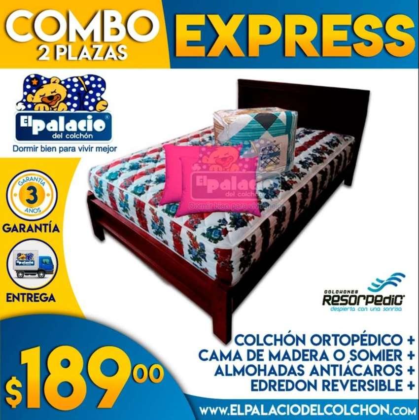 !! COLCHONES !! Por SOLO $189.00 !! COLCHON ORTOPEDICO + CAMA DE MADERA + EDREDÓN + ALMOHADAS + Envio Instalacion GRATIS 0