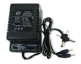 Adaptador Universal 3-12v Ac/dc 6 Plug 1500ma