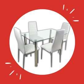 Juego de comedor Glass para 4 sillas