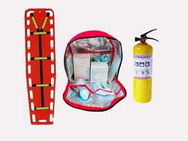camilla de emergencia + botiquin tipo A + extintor multiproposito de 10 lbs