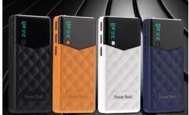 Bateria portatil power bank 30000 mha input 5vx1.5a | 3 ouput 5v-2.1 carga rapida a 2.1a tipo cuero