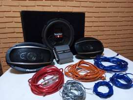 Subwoofer Bomber One + Potencia Taramps + Kit Cables + 2 Parlantes