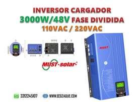 INVERSOR 3KW 48VDC FASE DIVIDIDA 110/220VAC CON CARGADOR MARCA MUST SOLAR
