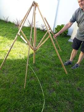 Vdo estructura de madera para sombrilla patio sin la lona