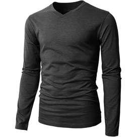 Camiseta Slim fit H2H Manga Larga Casual de Cuello en V